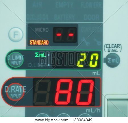 Soft Focus Of Saline Infusion Pump In Hospital