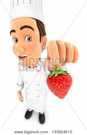 3d head chef holding a strawberry illustration with isolated white background