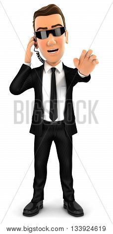 3d security agent stop gesture isolated white background