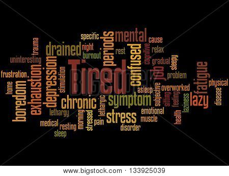 Tired, Word Cloud Concept