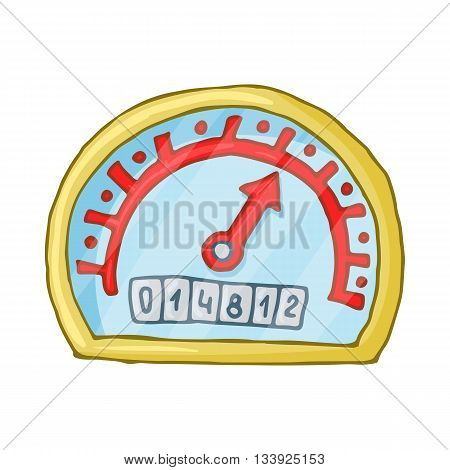 Speedometer and odometer icon in cartoon style on a white background