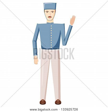 Doorman in a blue uniform icon in cartoon style on a white background