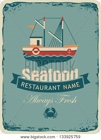 Retro banner for a restaurant or seafood store with fishing boats and crab