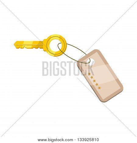 Hotel key icon in cartoon style on a white background