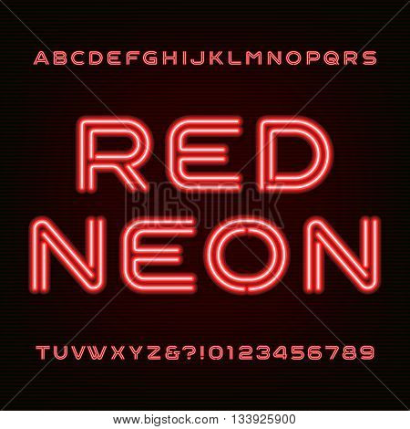 Red neon tube alphabet font. Type letters and numbers on a dark background. Vector font for labels, titles, posters etc.