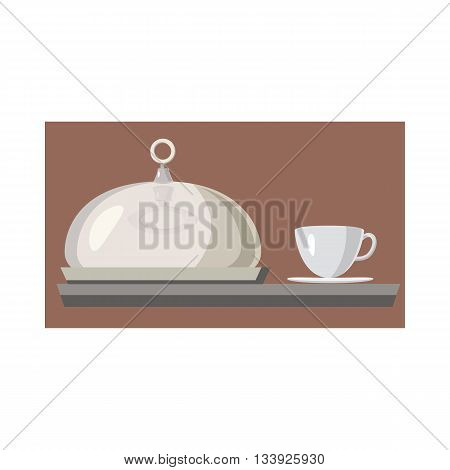 Cloche for meal and cup of hot drink icon in cartoon style on a white background