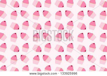 Pink cupcake pastel pink dessert cupcake pattern background
