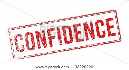 Confidence Red Rubber Stamp On White