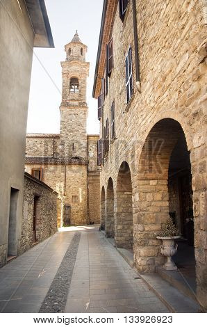 Bobbio emilia romagna village street bell tower italy