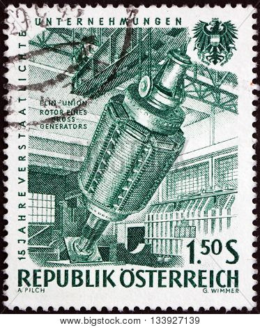 AUSTRIA - CIRCA 1961: a stamp printed in Austria shows Generator 15th Anniversary of Nationalized Industry circa 1918