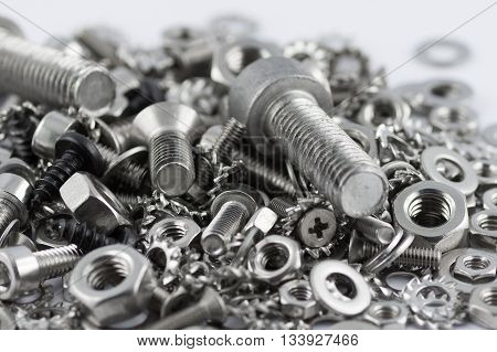 A lot of different metal screws for maintenance activity