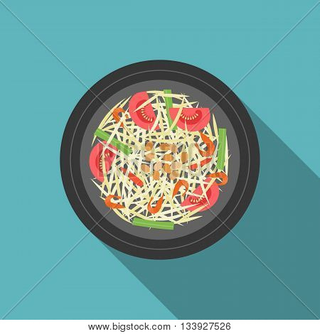 Thai food, Som Tam(Papaya salad), flat design