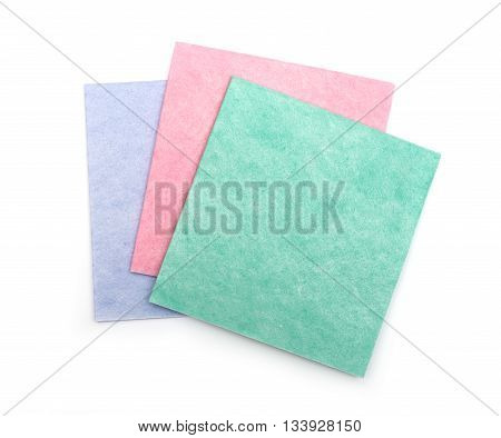 A stack of fabric napkins for household isolated on white