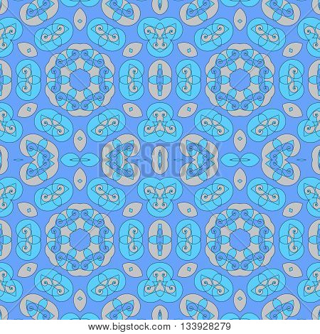 Abstract geometric seamless background. Ornate spiral pattern with various elements in light blue and apricot color, delicate and dreamy.