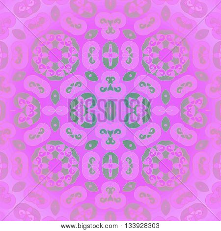 Abstract geometric seamless background. Ornate spiral pattern with various elements in pale green and violet on magenta, delicate and dreamy, centered and blurred.