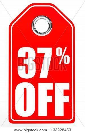 Discount 37 Percent Off. 3D Illustration.