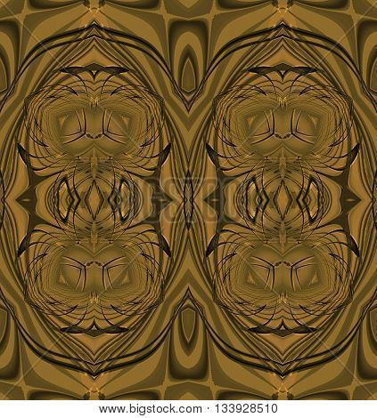 Abstract geometric plain background. Regular seamless ellipses pattern in gold and brown shades, ornate and extensive.