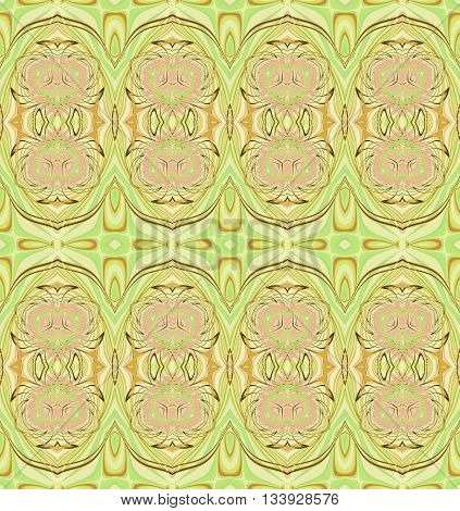 Abstract geometric seamless background. Regular ornate ellipses pattern pink, beige, ocher brown and pastel green, ornate and extensive.