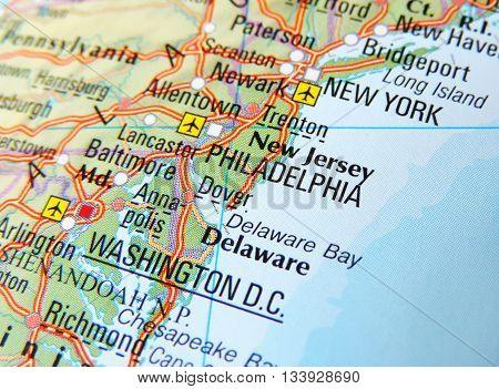 Map with focus set on Philadelphia, USA.
