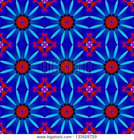 Abstract geometric seamless background. Regular floral circle pattern, blossoms red and light blue on dark blue with red, black and violet elements, ornate and dreamy.