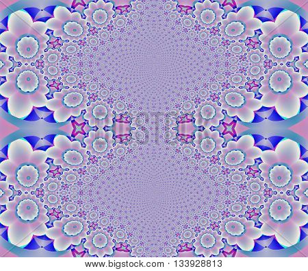 Abstract geometric seamless background. Elliptical ornaments with floral pattern in light gray, pink, violet, purple and turquoise shades, centered and dreamy.