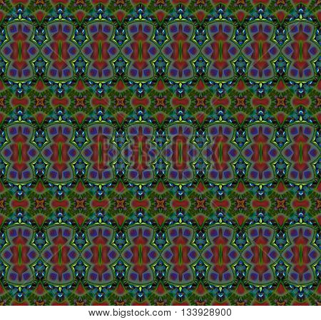 Abstract geometric seamless background. Regular multicolored pattern with various elements in olive green, red, brown, turquoise and purple shades, ornate and extensive.