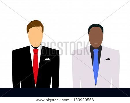 Businessman In Suit And Tie Silhouette. Man In Suit, Depersonalized. Man On A White Background, Silh