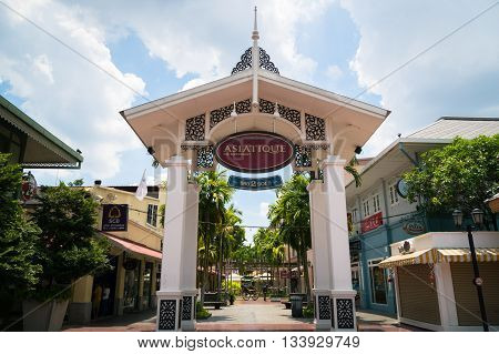 BANGKOK, THAILAND - circa MAY 2016: The entrance gate of Asiatique The Riverfront in the daytime in Bangkok Thailand. Asiatique The Riverfront is a popular large open-air market for the locals and tourists.