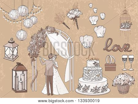 Vintage set of hand drawn wedding elements - string of lights, lanterns, flowers, candles, cake, rings, glasses, bride and groom in pastel brawn tones