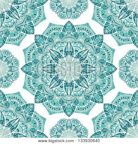 Seamless winter ornamental background. Template for carpet shawl textile cloth. Stylized turquoise mosaic. Filigree oriental blue pattern of mandalas.