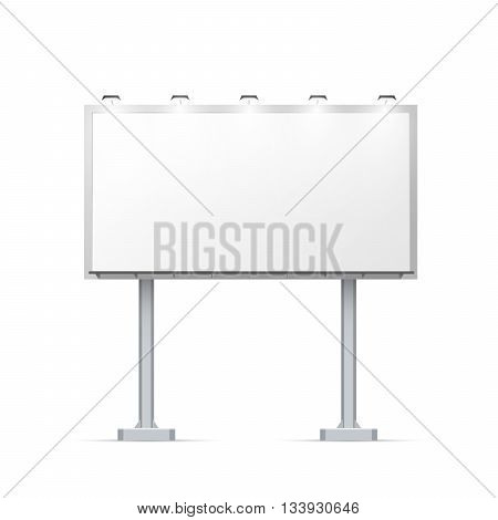 White outdoor billboard on two pillars with place for advertising and with lighting Isolated on white