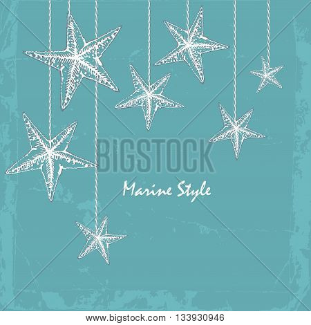 vintage Decorative blue sea card with starfishes. Can be used as a greeting card or wedding invitation.