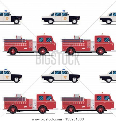 seamless pattern of the fire engine and police car. Vector illustration