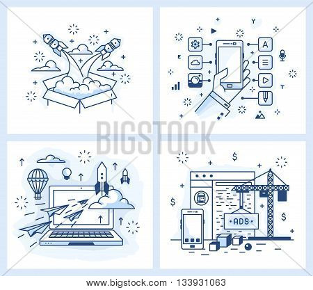 Set of vector illustrations in modern linear style, the launch of the project, a list of applications, detailed design, site development