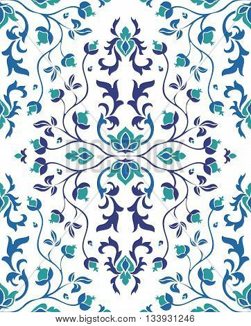 Colorful blue floral ornament. Template for oriental carpet textile shawl wallpaper and any surface. Seamless vector pattern of blue elements on a white background.