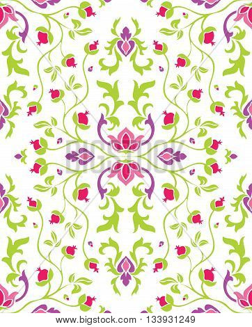 Colorful floral ornament. Template for carpet textile shawl wallpaper and any surface. Seamless vector pattern of bright elements on a white background.