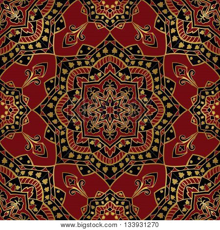 Dark silky pattern. Oriental elegant ornament with a gold contour on red background. Template for textile shawl carpet wallpaper.
