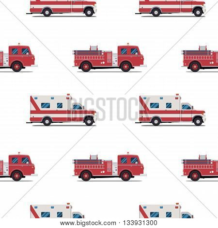 seamless pattern of the fire engine and ambulance. Vector illustration