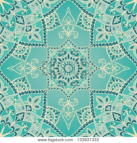 Seamless winter ornamental background. Template for carpet shawl textile cloth. Stylized turquoise mosaic. Oriental blue pattern.