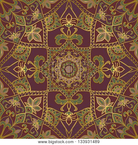 Oriental seamless pattern of mandalas. Vector lilac ornament. Template for shawl scarf blanket textile carpet.