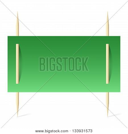 Blank banner with green paper on toothpicks. Illustration on white background