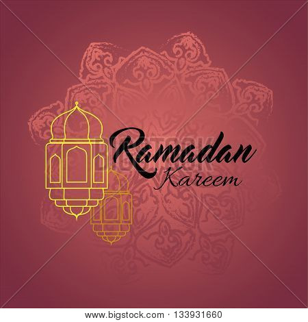 Illustration of Ramadan kareem and Ramadane mubarak with lantern. Traditional greeting card wishes holy month moubarak and karim for muslim and arabic