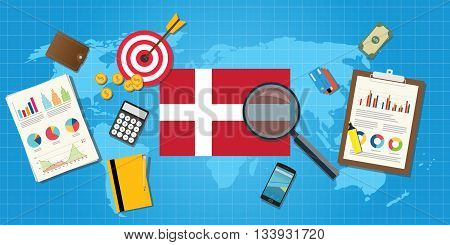 denmark economy economic condition country with graph chart and finance tools vector graphic illustration