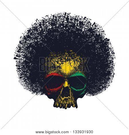 Skull reggae graphic design.
