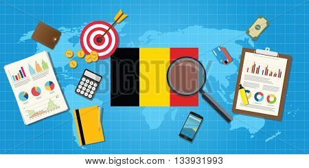 belgium economy economic condition country with graph chart and finance tools vector graphic illustration