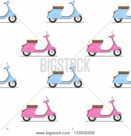 seamless pattern of the classic pink and blue moped. Vector illustration
