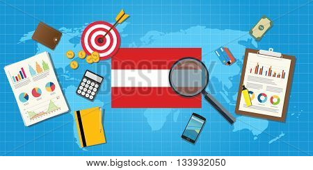 austria economy economic condition country with graph chart and finance tools vector graphic illustration