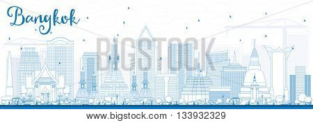 Outline Bangkok Skyline with Blue Landmarks. Business Travel and Tourism Concept with Bangkok City. Image for Presentation Banner Placard and Web Site.