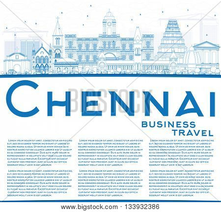 Outline Chennai Skyline with Blue Landmarks and Copy Space. Business Travel and Tourism Concept with Historic Buildings. Image for Presentation Banner Placard and Web Site.