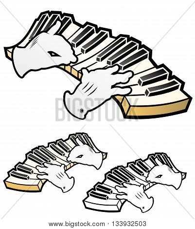 hands playing a piano keyboard.  Includes full color, flat, and black outline versions.